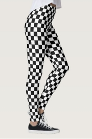 Shosho Black-White Checkered Leggings - Front cropped