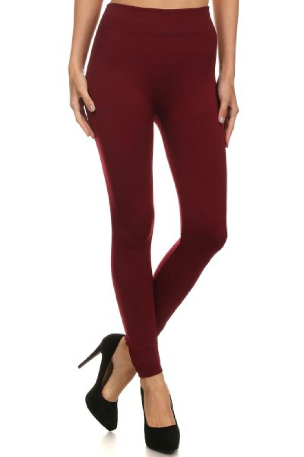 Shosho Burgundy Faux-Fur-Lined Leggings - Front Cropped Image