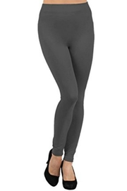 Shosho Charcoal Faux-Fur-Lined Leggings - Front cropped