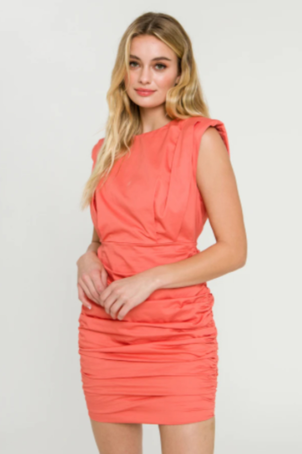 Endless Rose Shoulder Pad Ruched Dress - Main Image