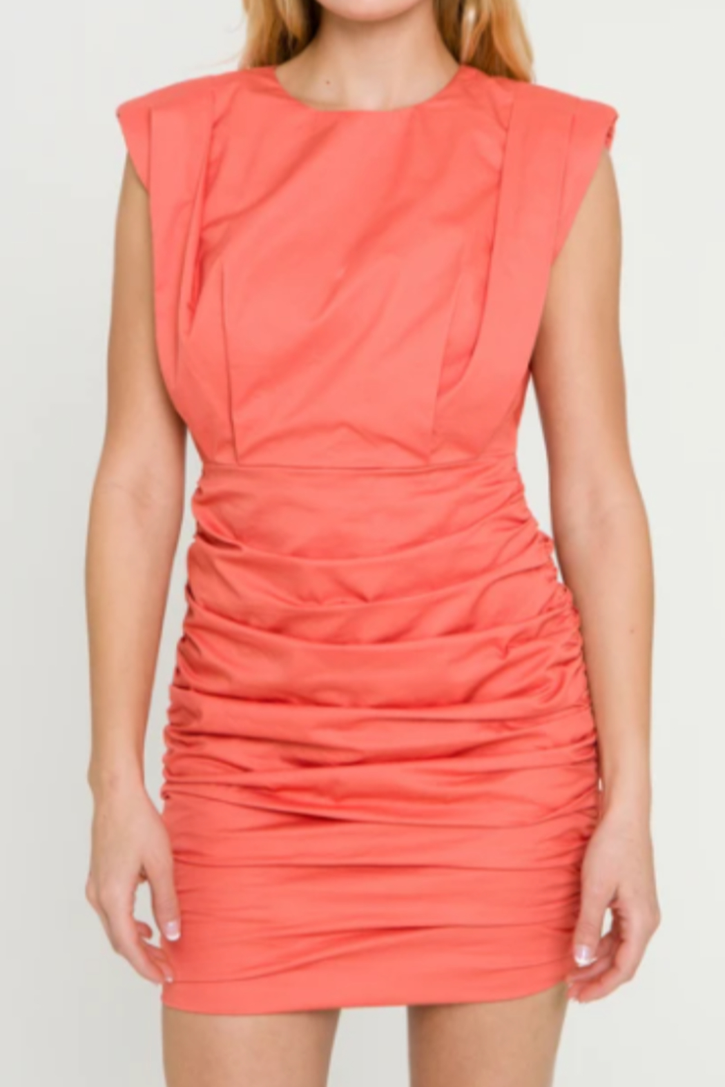 Endless Rose Shoulder Pad Ruched Dress - Front Full Image