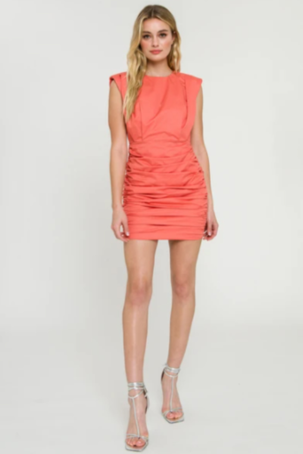 Endless Rose Shoulder Pad Ruched Dress - Side Cropped Image