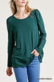 umgee  Shoulder Pleated Detail Long Sleeve Top - Front cropped