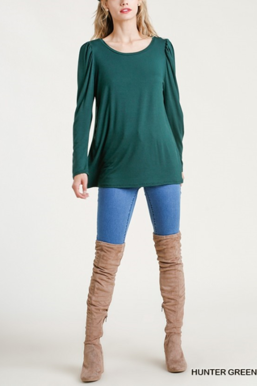 umgee  Shoulder Pleated Detail Long Sleeve Top - Front Full Image