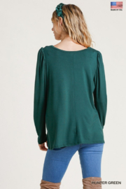 umgee  Shoulder Pleated Detail Long Sleeve Top - Back cropped