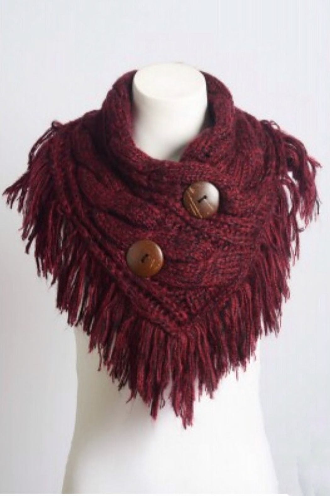 Leto shoulder scarf with buttons - Front Full Image