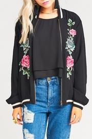 Show Me Your Mumu Black Floral Bomber Jacket - Front cropped