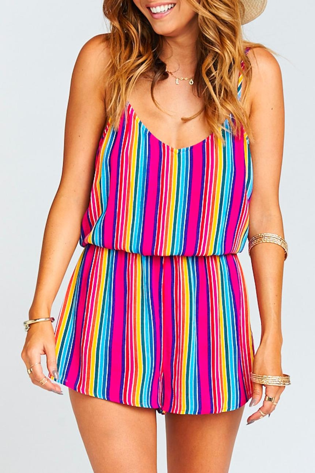 Show Me Your Mumu Stripe Rorey Romper - Front Cropped Image