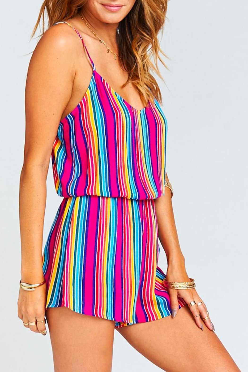 Show Me Your Mumu Stripe Rorey Romper - Side Cropped Image