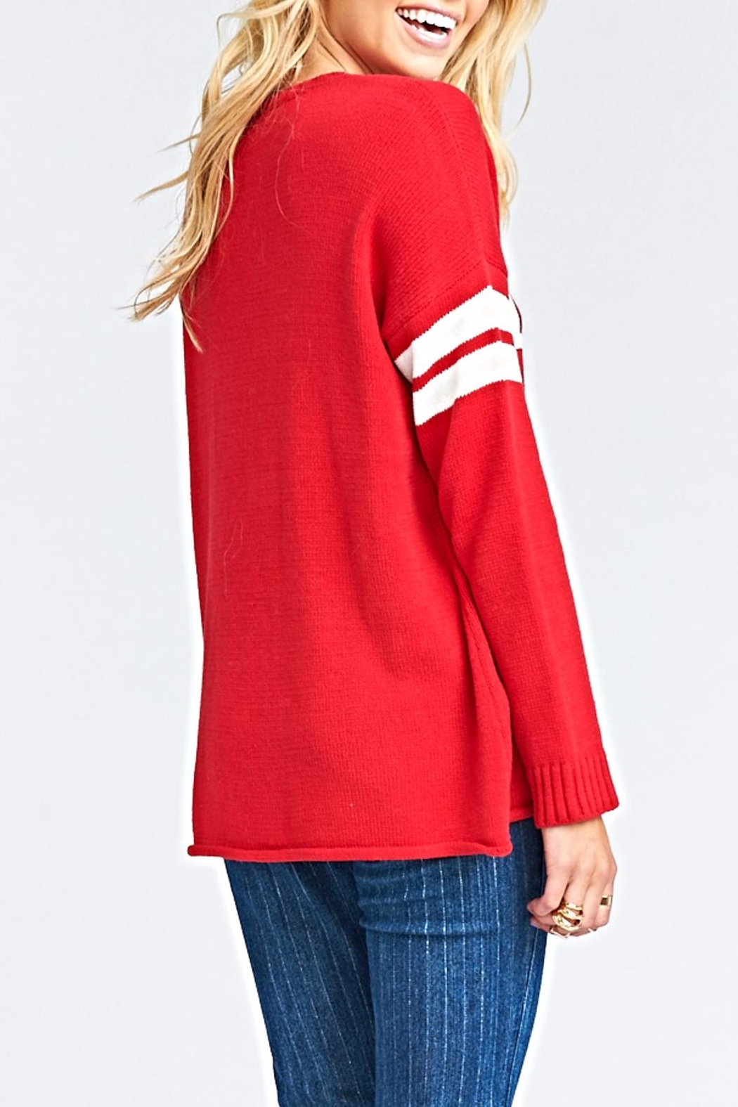 Show Me Your Mumu Varsity Sweater - Side Cropped Image