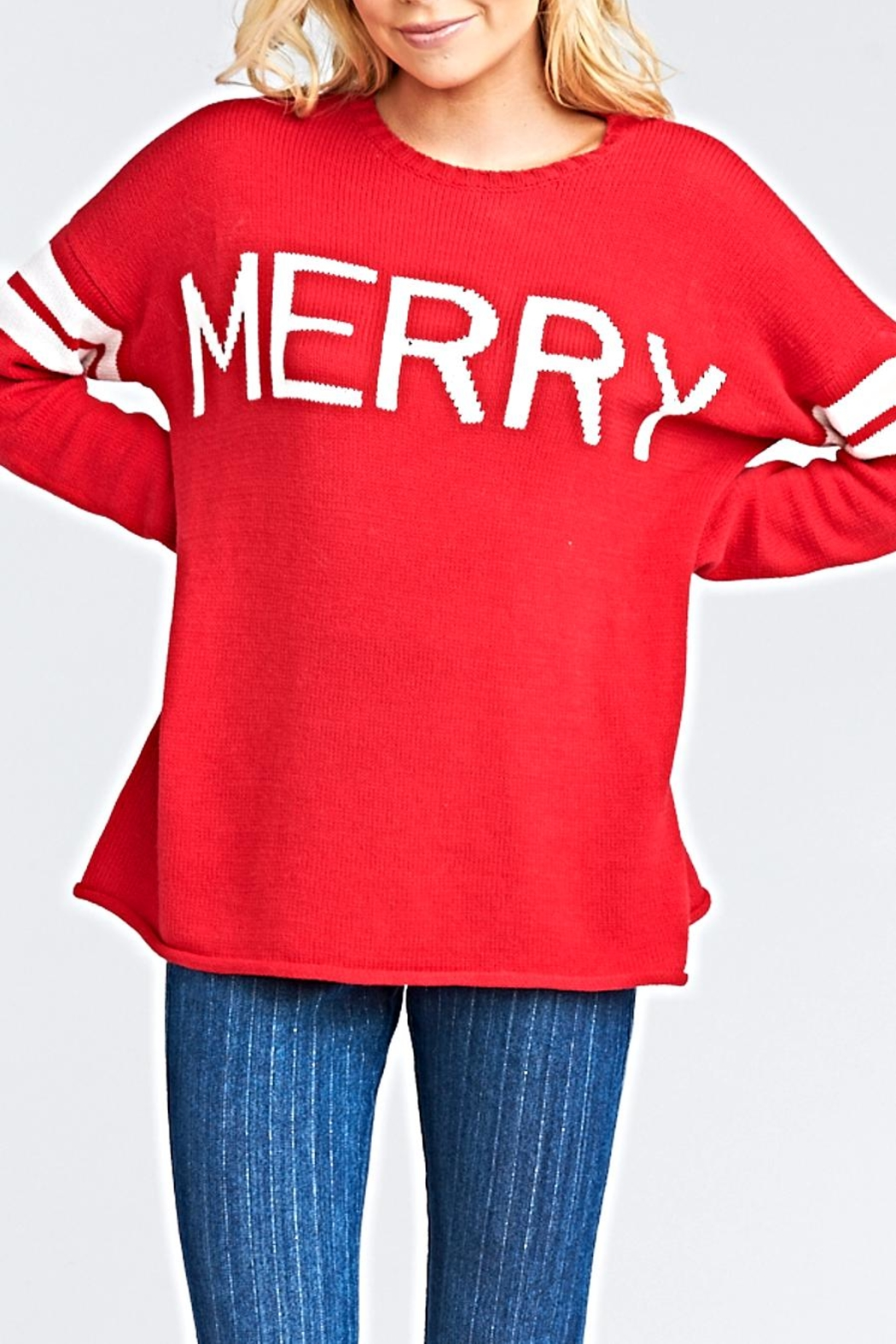Show Me Your Mumu Varsity Sweater - Front Cropped Image