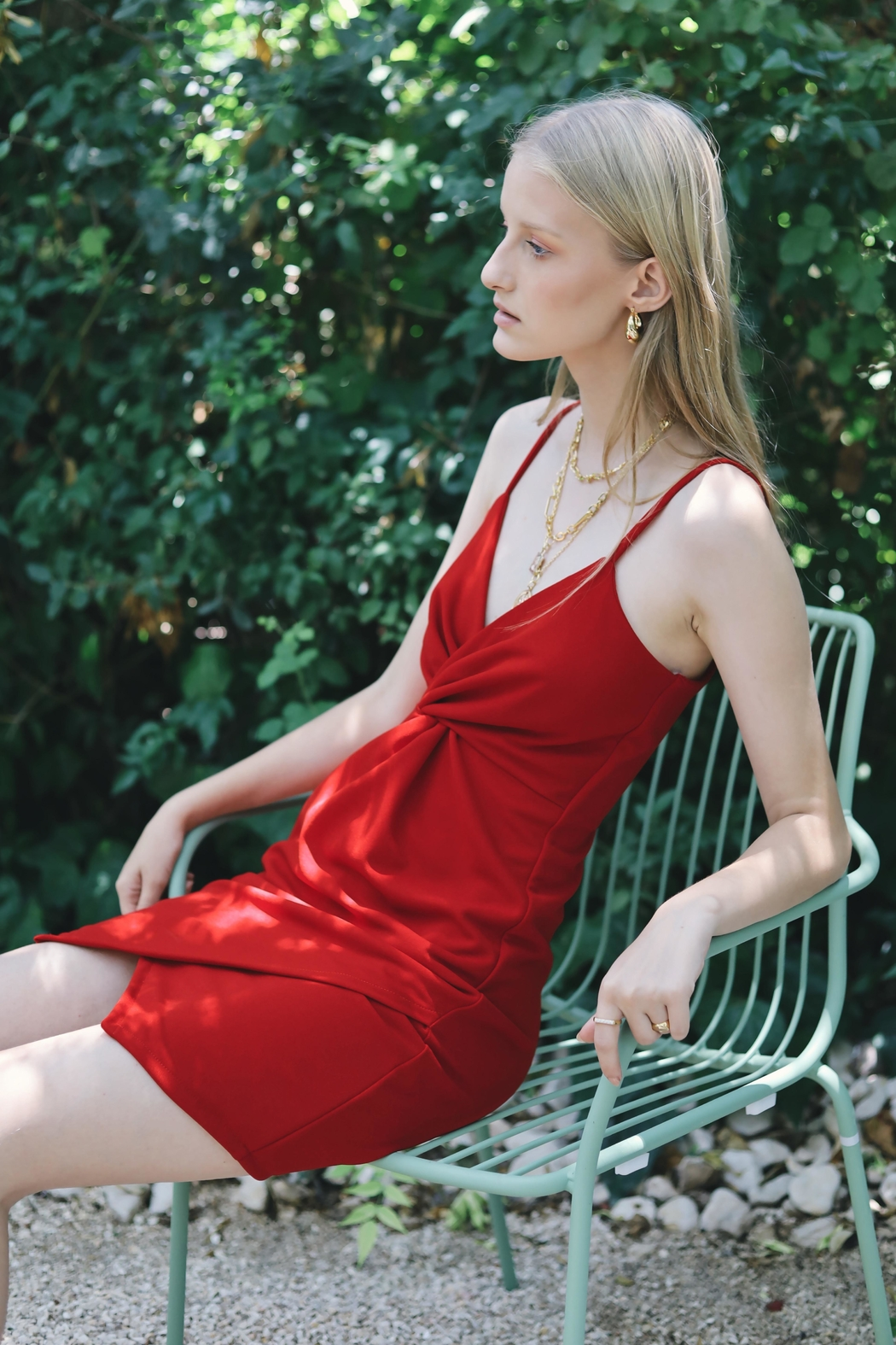 ShuShine Knotted Red Dress - Front Full Image