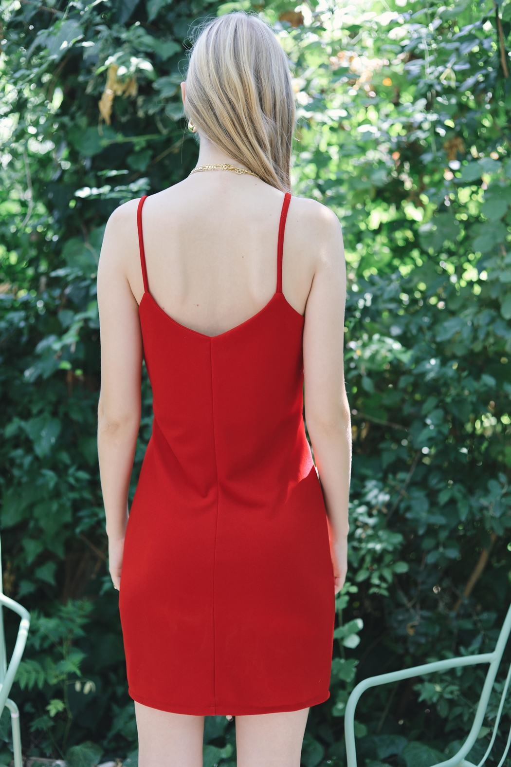 ShuShine Knotted Red Dress - Side Cropped Image