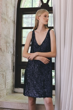 ShuShine Sequined Blue Dress - Product List Image