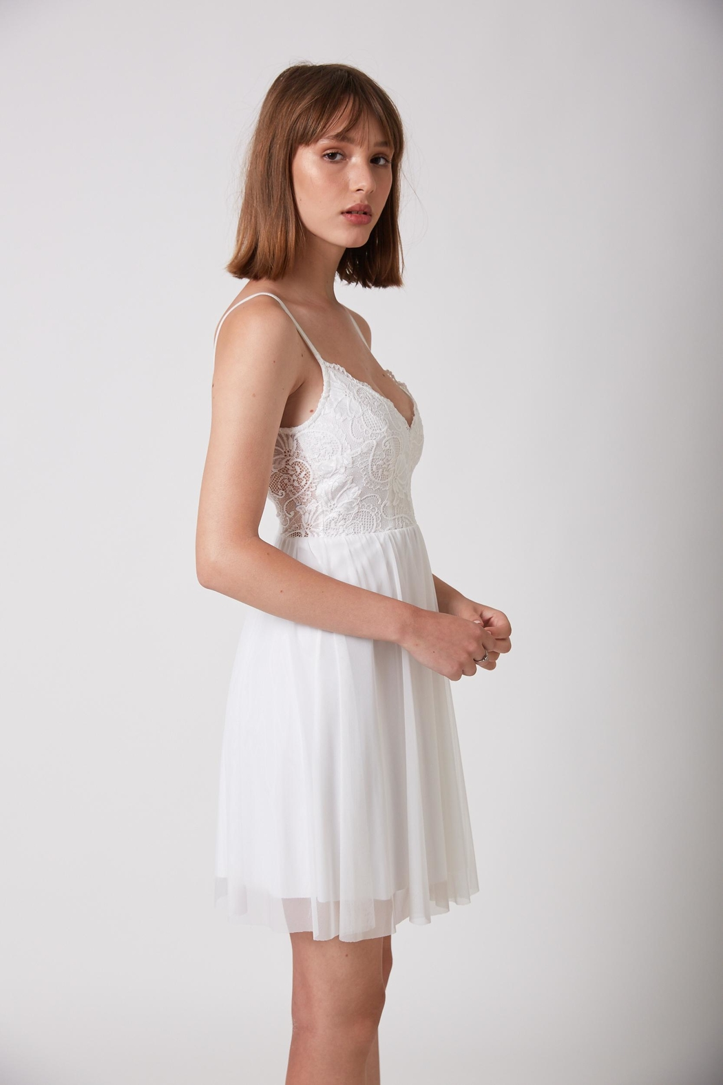 ShuShine White Mini Dress - Side Cropped Image
