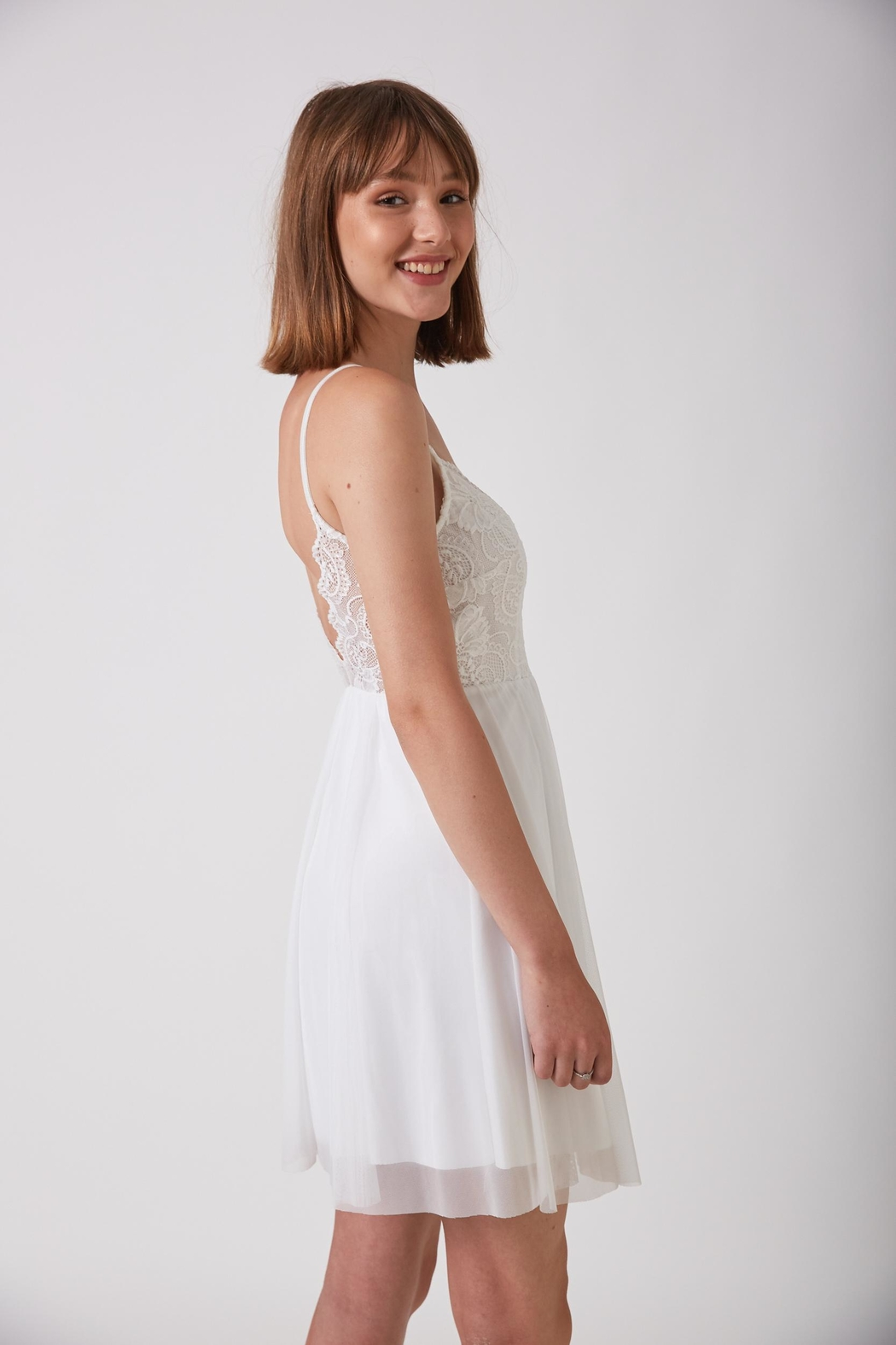 ShuShine White Mini Dress - Back Cropped Image