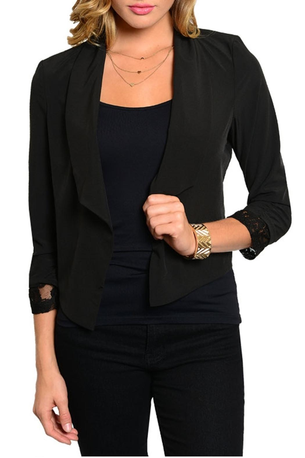 Si Style Lace Insert Blazer - Front Cropped Image