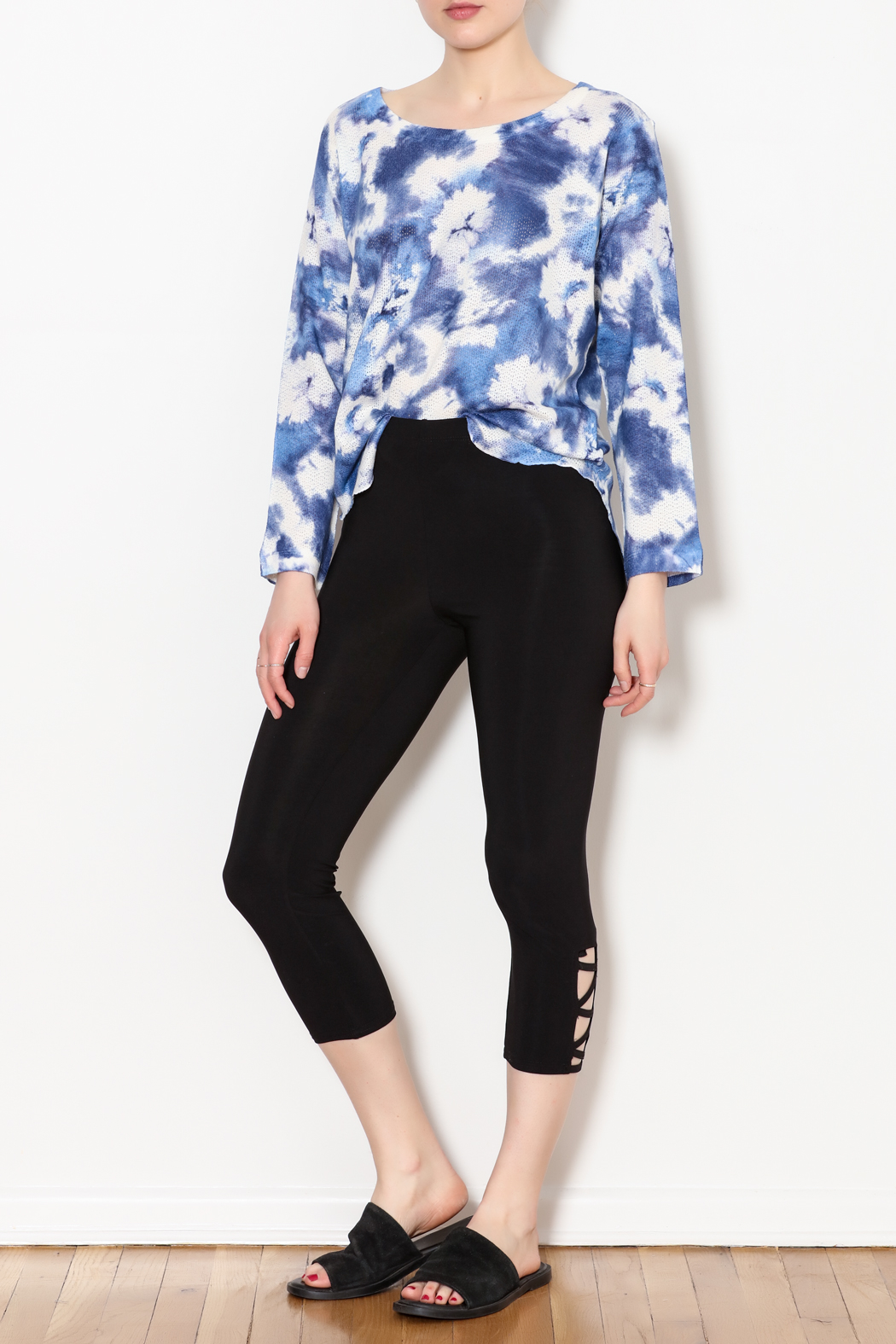 Bali Side Ankle Cut Out Capri - Front Full Image