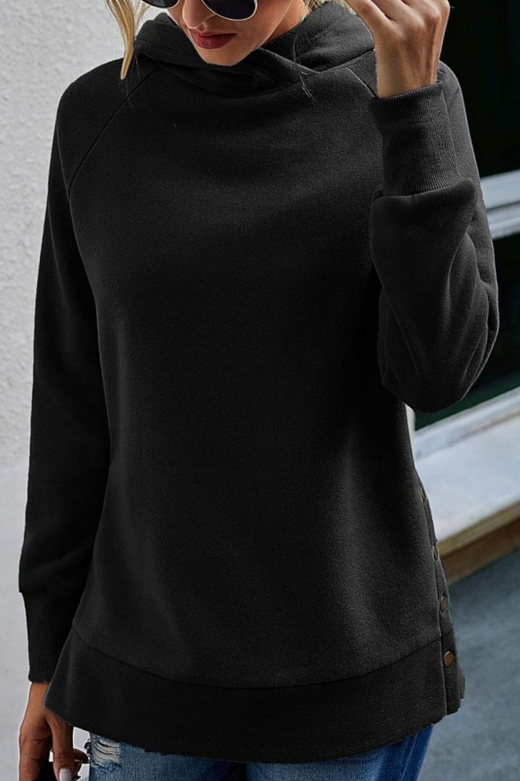 Esley Collection Side Button Tunic Length Hoodie - Front Full Image