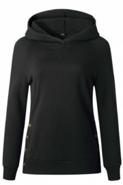 Esley Collection Side Button Tunic Length Hoodie - Side cropped