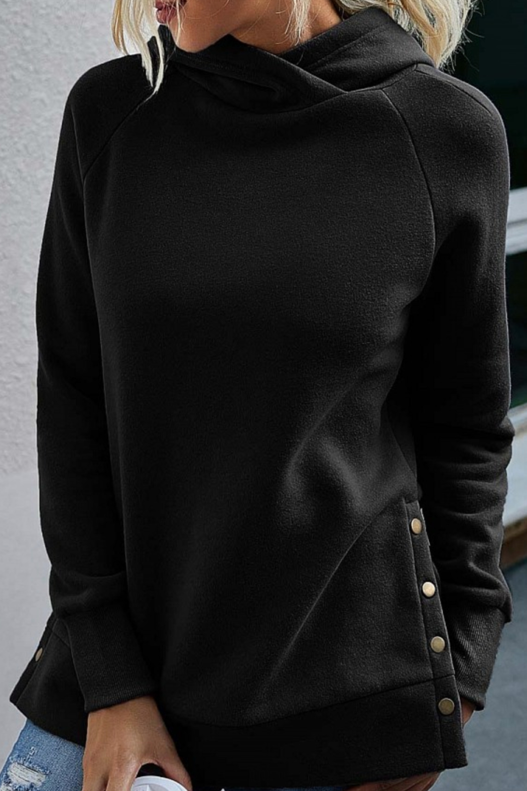 Esley Collection Side Button Tunic Length Hoodie - Main Image