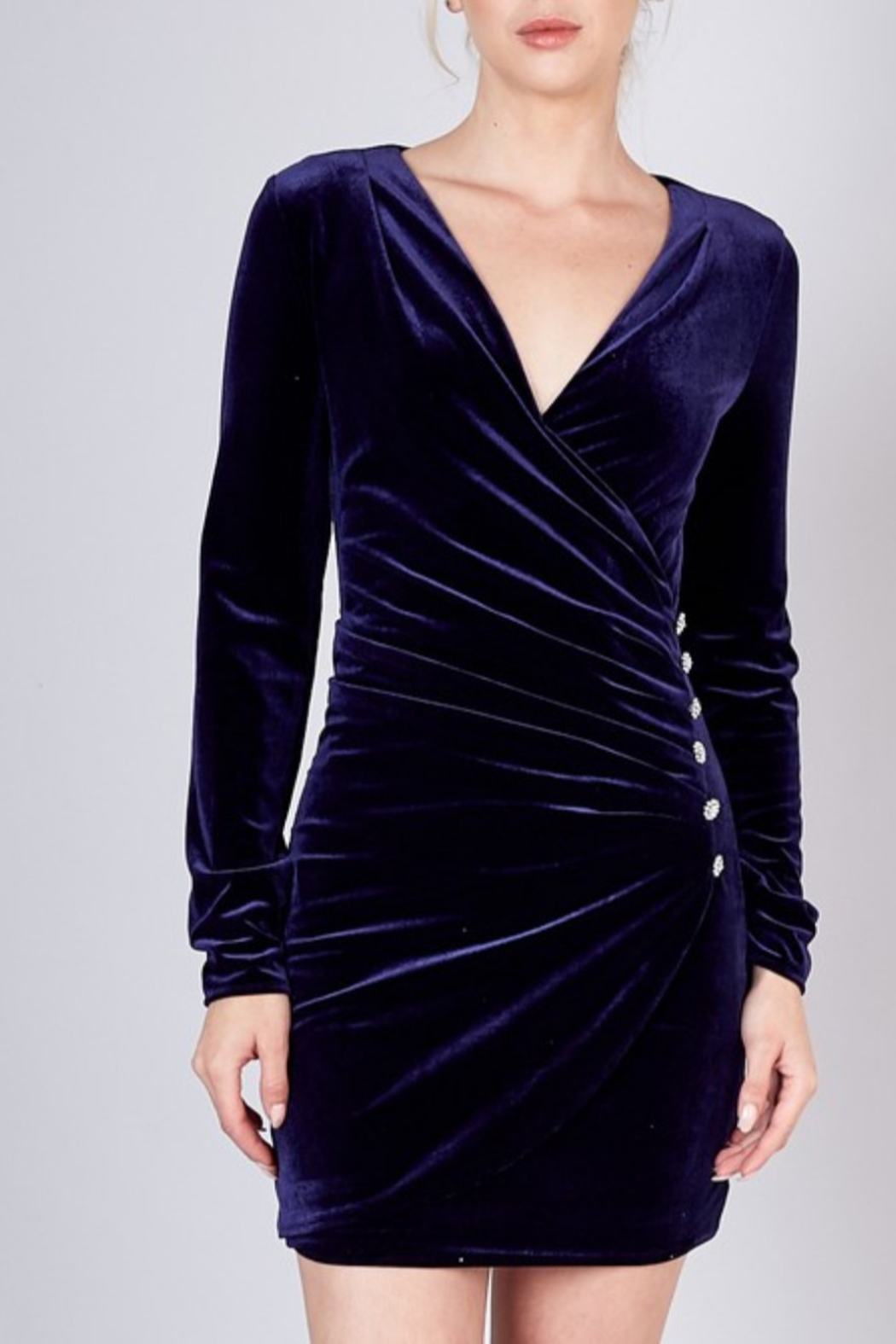 Do & Be Side Button Velvet Dress - Front Cropped Image
