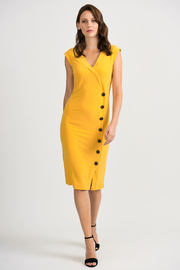 Joseph Ribkoff Side Buttons Long Sheath Dress, Golden Sun - Product Mini Image