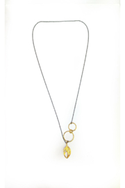 Deux Amies Side Circles & Feather Drop Necklace - Front cropped