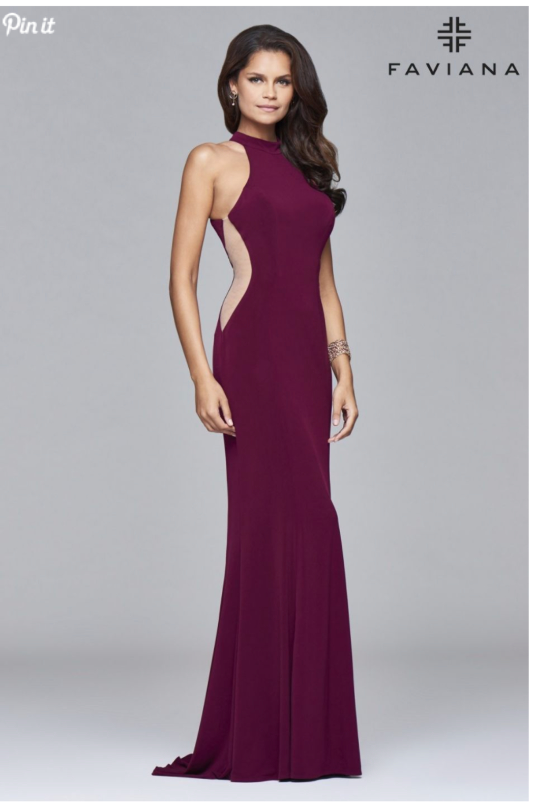 Faviana Side Cutout Gown - Front Cropped Image