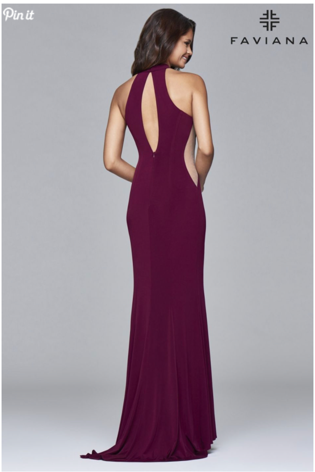Faviana Side Cutout Gown - Front Full Image