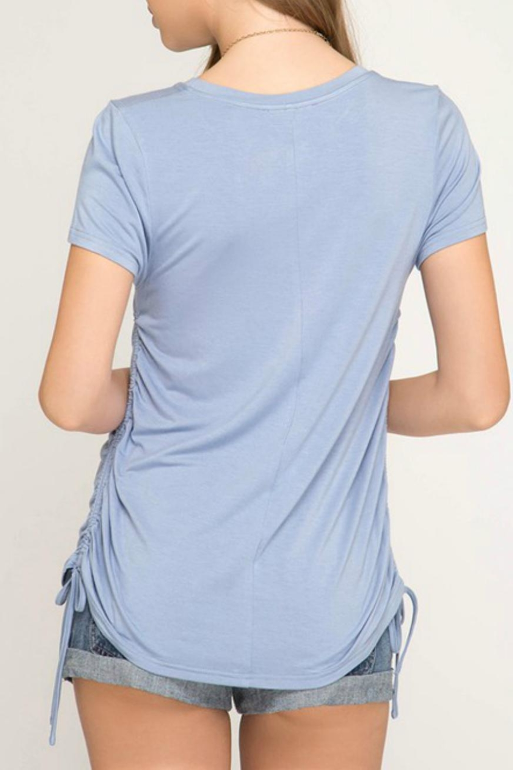She + Sky Side Drawstring Tee - Back Cropped Image