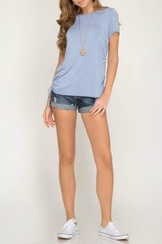 She + Sky Side Drawstring Tee - Front cropped