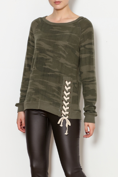 Shoptiques Product: Side Lace-up Camo Sweater