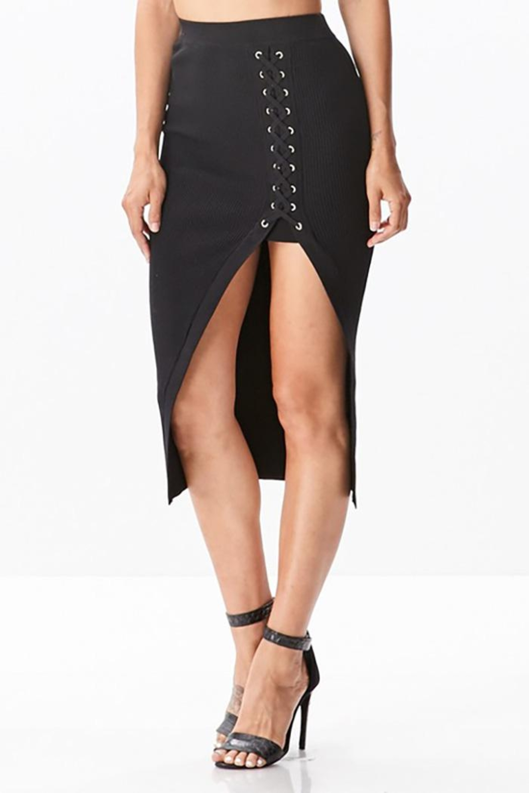 hera collection Side Lattice Midi-Skirt - Front Cropped Image