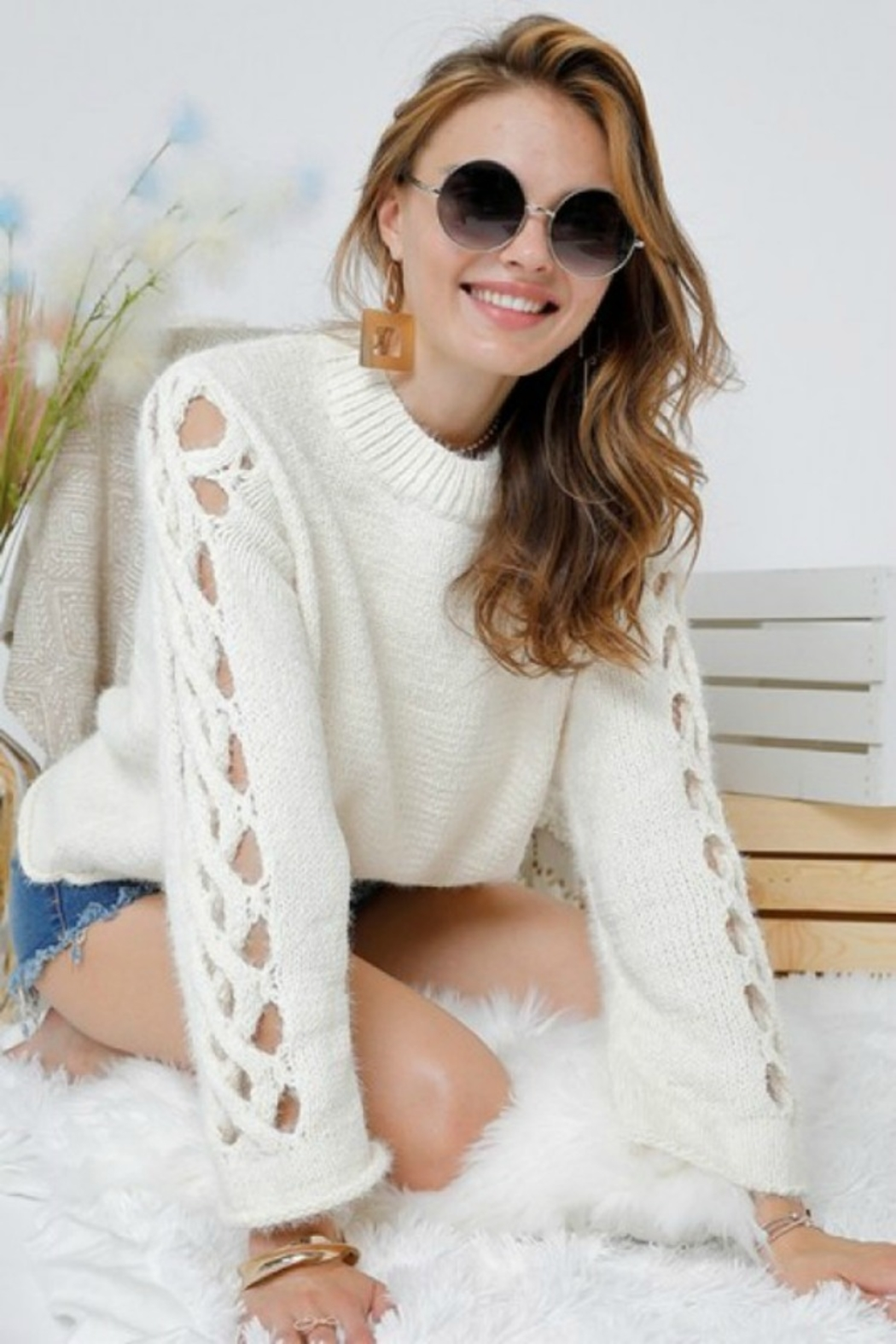 Adora SIDE OUT SWEATER - Front Full Image