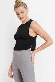 Mono B Side Overlay Crop Supima Cotton Tank Top - Front cropped