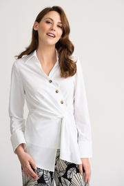 Joseph Ribkoff Side Pull Blouse, White - Product Mini Image