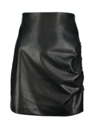 Bishop + Young SIDE RUCHE FAUX LEATHER SKIRT - Product Mini Image