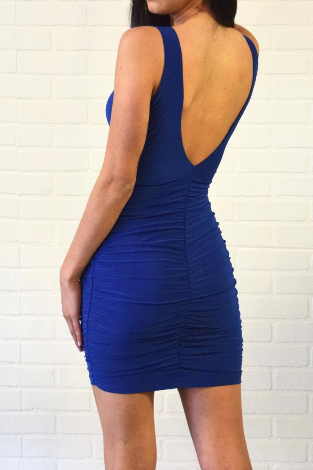 Uptown Side Ruched Dress - Side Cropped Image