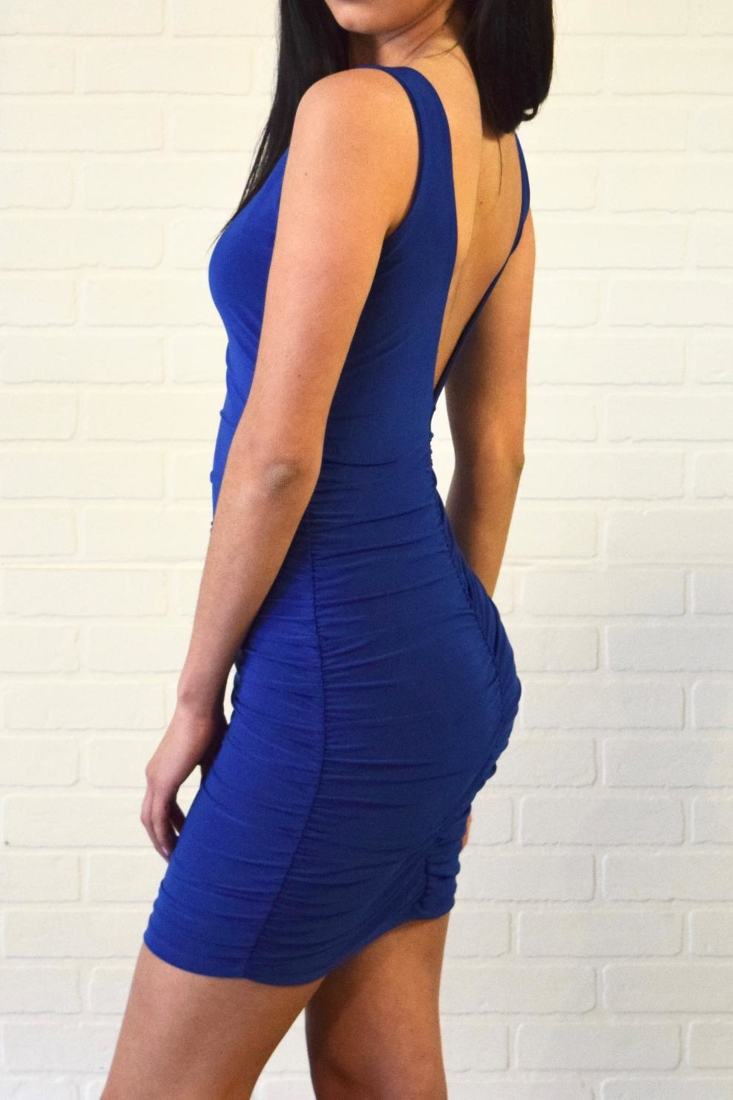 Uptown Side Ruched Dress - Front Full Image
