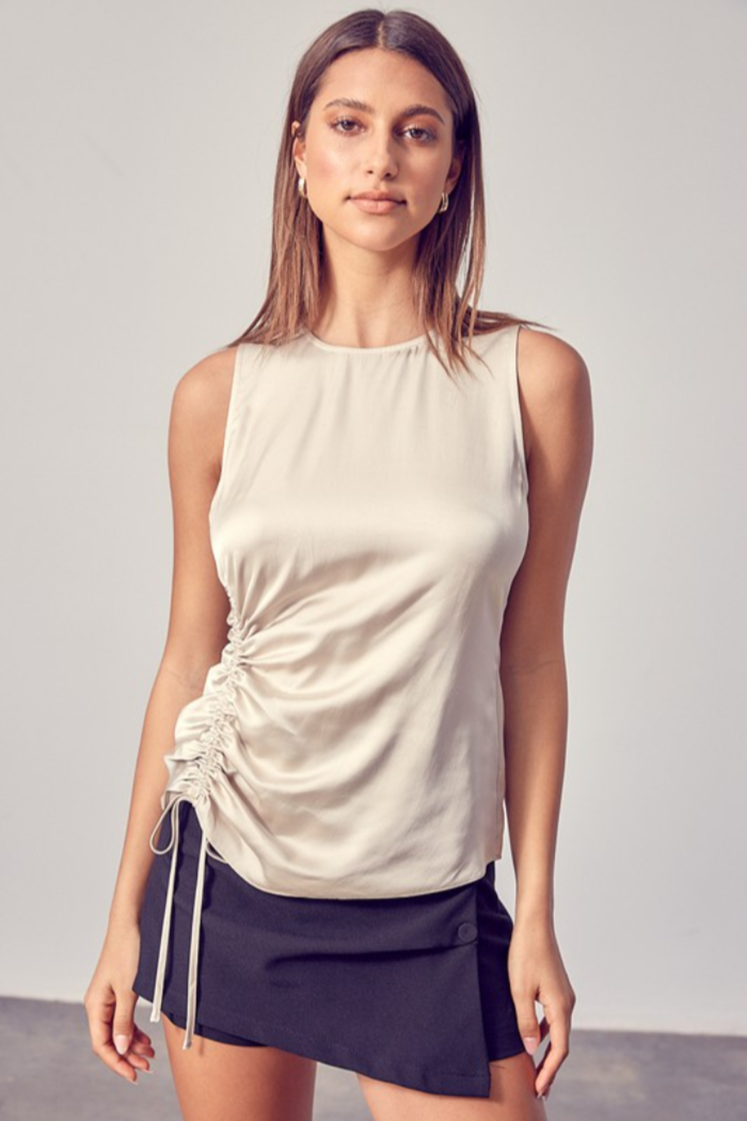Do + Be  Side Ruched Top - Front Cropped Image