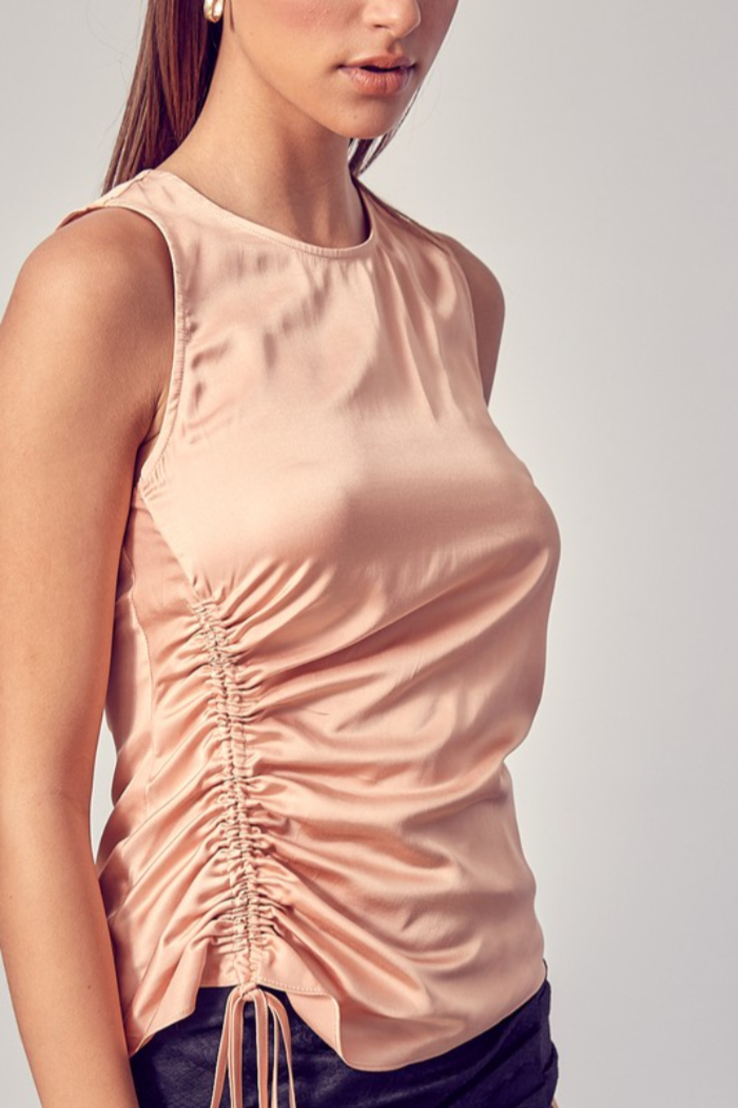 Do + Be  Side Ruched Top - Back Cropped Image