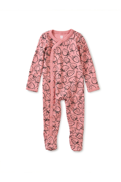 Shoptiques Product: Side Snap Footed Romper - Strawberries