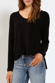 Three Dots Side Split V-neck Brushed Sweater - Product Mini Image