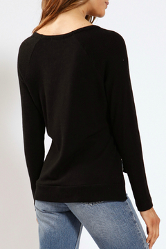 Three Dots Side Split V-neck Brushed Sweater - Alternate List Image