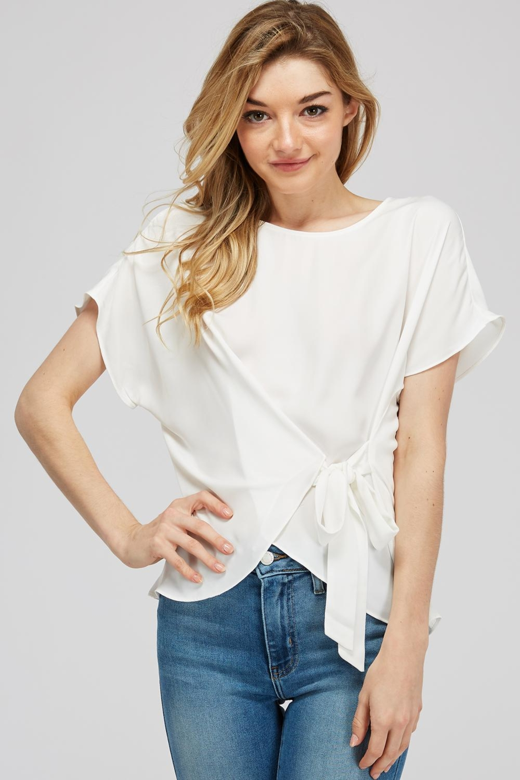 Naked Zebra Side Tie Blouse - Front Cropped Image