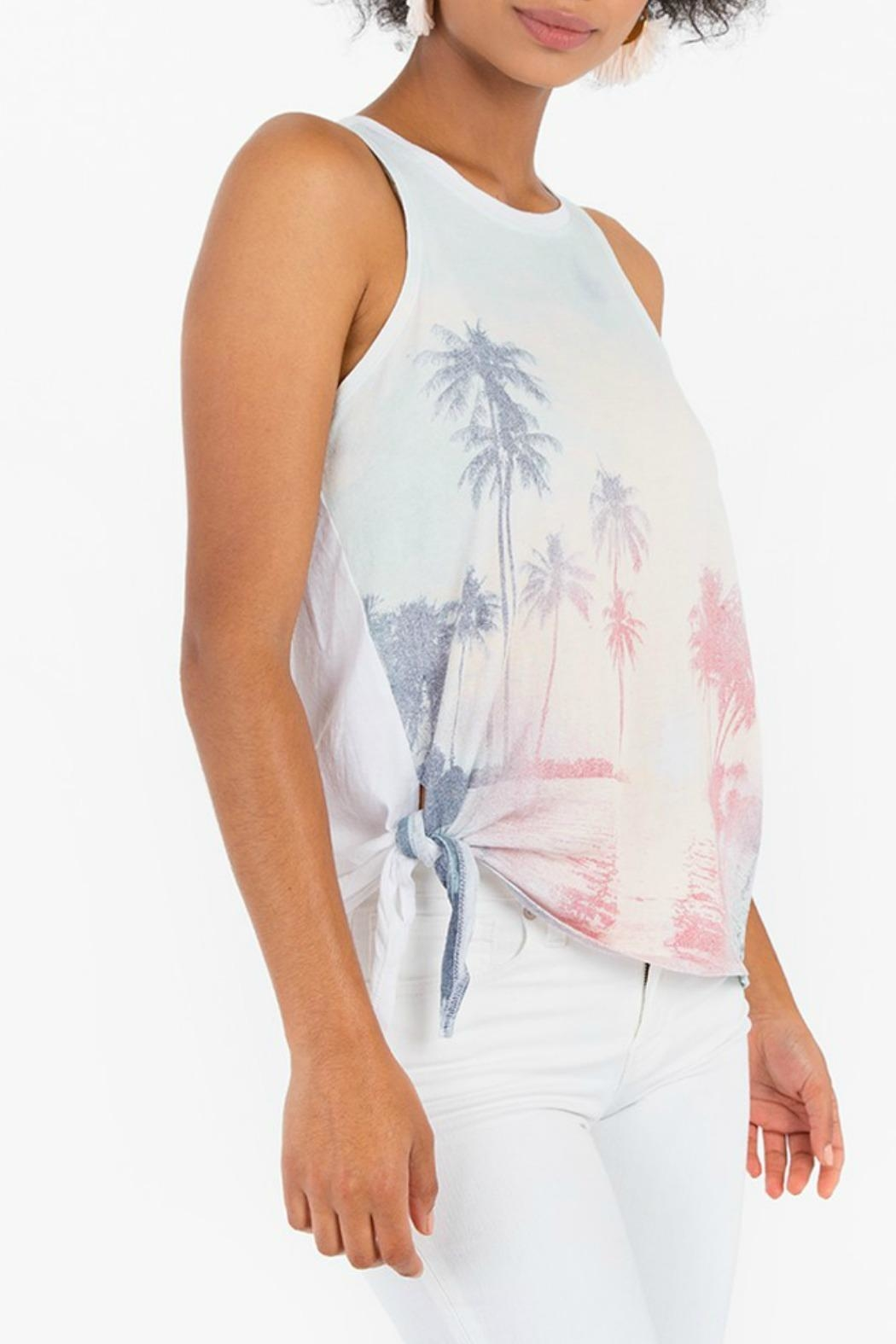White Crow Side-Tie Graphic Tank - Front Full Image