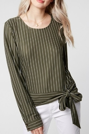 Everly Side-Tie Olive Blouse - Product Mini Image