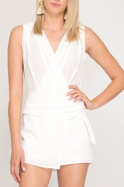 She + Sky Side Tie Romper - Product Mini Image