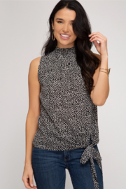 She and Sky Side Tie & Smocked Neck Top - Product Mini Image